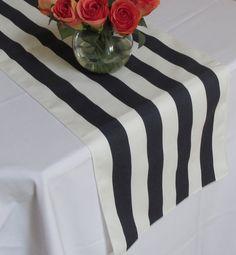 Striped Table Runner White And Navy Blue White Edges Wedding
