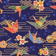 http://www.kawaiifabric.com/en/p8913-dark-blue-colorful-flower-origami-crane-bird-gold-metallic-fabric.html