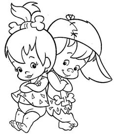 Pebbles and Bamm Bamm Ruble Posing in the Flintstones Coloring Page Cartoon Coloring Pages, Disney Coloring Pages, Coloring Book Pages, Coloring Sheets, Coloring Pages For Kids, Cartoon Drawings, Easy Drawings, Cartoon Art, Pebbles Y Bam Bam