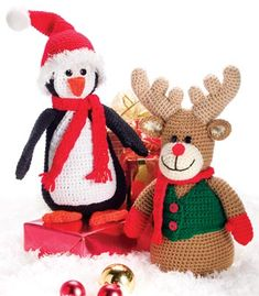 Xmas Characters Reindeer and Penguin - Free Amigurumi Pattern here: http://www.crochetmagazine.com/newsletters-proofing.php?mode=article&article_id=517&key=NL00