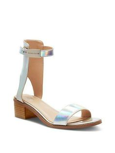 Need a sandal that can dress up & down? Opt for iridescence. / Ankle-strap Sandal VS Collection