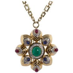 David Webb Large Cabochon Gems Combination Pendant/Brooch with Chain Necklace