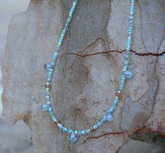 Blue Denim Teardrop Necklace, Czech Glass Necklace, Simple Necklace