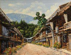 平田武夫「妻籠宿」油彩画 | 日本画、油絵、版画などの絵画販売【ギャラリー風のたより】