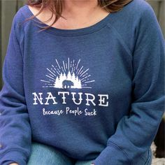 Ladies wide neck fleece sweatshirt for nature-loving introverts!