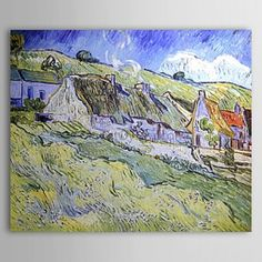 Famous Oil Painting A Group of Cottages by Van Gogh - WallArtBox