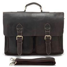 Vintage Handmade Antique Crazy Horse Leather Briefcase, Messenger, Laptop / MacBook Pro Bag