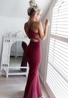 Burgundy Patchwork Lace Backless Mermaid Bodycon Spaghetti Strap Elegant Banquet Party Maxi Dress