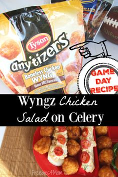 Got Tyson Any'tizers? Make my Wyngz Chicken Salad on Celery Game Day Appetizer - it's easy! http://freebies4mom.com/eatgameday ad
