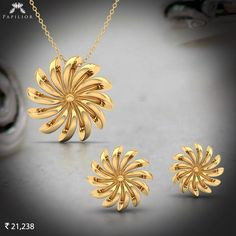 Striking yet simple Myrtle Gold Pendant Set. - October 19 2019 at Gold Pendent, Pendant Set, Pendant Jewelry, Bead Jewelry, Gemstone Jewelry, Silver Jewelry, Gold Necklace Simple, Gold Jewelry Simple, Gold Earrings Designs