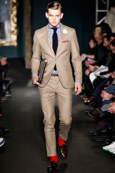 Beige suit with gingham shirt and red socks! <3 it!!!