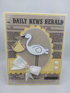 Baby Boy or Girl Stork  Handmade Greeting by creationsbywendalyn, $6.00