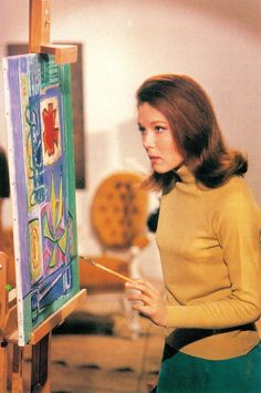 DIANA RIGG as Emma Peel THE AVENGERS 'The Winged Avenger' Season 5 episode 6 1967. Steed goes bird watching. Emma does a comic strip. (please follow minkshmink on pinterest) #theavengers #dianarigg #emmapeel