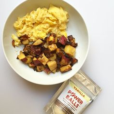 Yummy breakfast that I made for someone special since I'm skipping eggs for now. Sweet potato/bacon hash. And I was SUPER excited to find @vitalfarms eggs at my local Whole Foods!