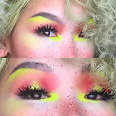 CAN SOMEONE BRING ME BREAKFAST OR NAH  Til then here's a close up makeup shot and product details (lol) @nyxcosmetics brow gel in black @sugarpill Asylum for eyes&blush @kryolanofficial aquacolor dayglow in uv-yellow yellow glitter from the mall circa 2003 @nyxcosmetics lipliner in deep red for freckles and 4 pairs of @daiso_usa lashes #11 stacked liner is @narsissist eye paint in black valley  by tessxmoney
