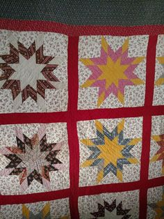 1890s Early 1900s Star Quilt Hand Stitched Quilted Calico