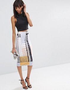 ASOS Scuba Pencil Skirt in Abstract Print