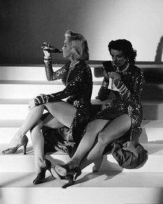 "Marilyn & Jane on the set of ""Gentlemen Prefer Blondes"""
