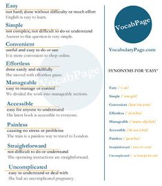 Synonyms for EASY #English http://www.vocabularypage.com/2016/09/synonyms-for-easy.html
