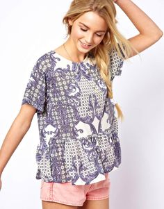 ASOS T-Shirt with Dropped Waist in Baroque Print