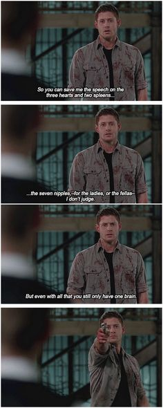 "[gifset] 10x22 The Prisoner #SPN #Dean I loved this! ""for the ladies or the fellas I don't judge"" LOL"