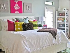 Crisp white bedding--a great idea for switching out trendy and seasonal colors. http://www.hgtv.com/decorating/bedrooms-on-a-budget-our-10-favorites-from-rate-my-space/pictures/page-6.html?soc=pinterest