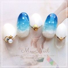 Make an original manicure for Valentine's Day - My Nails Sea Nails, Blue Nails, Mermaid Nails, Japanese Nail Art, Nail Decorations, Bridal Nails, Perfect Nails, Nail Arts, Nails Inspiration