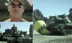 Crush things in a tank with Arnold Schwarzenegger for charity. This would be so much fun! What a creative fund raising idea. (: