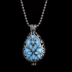 WaterDrop Glow In The Dark Locket Pendant Necklace