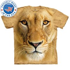 The Mountain BIG FACE LIONESS Lion Smithsonian Animal T-Shirt MADE IN USA S-3XL #TheMountain #GraphicTee