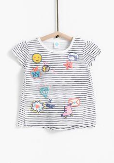 Carrefour - Tex - Camiseta de rayas con dibujos, manga corta y cuello redondo. Diseñado en España. Algodón 100%