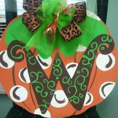 Pumpkin door hanger for fall