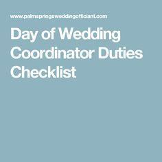 Day of Wedding Coordinator Duties Checklist More