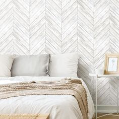 Herringbone Wood Boards Peel and Stick Wallpaper