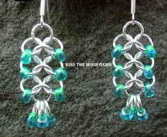 Womens Beaded 4-1 Chainmaille Earrings. $20.00, via Etsy.