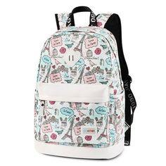 Fresh Cartoon Eiffel Tower School Rucksack Cute Canvas School Backpack