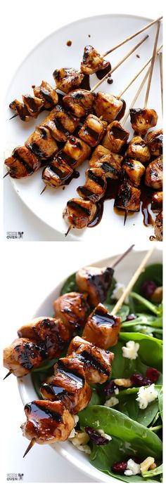 Easy Balsamic Chicken Skewers -- all you need are 5 easy ingredients to make these delicious kabobs! #glutenfree