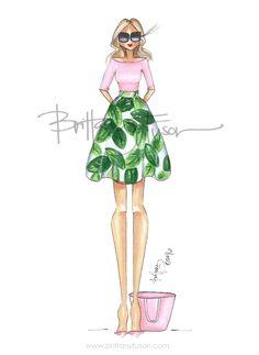 Palm Springs | palm print | green | fashion illustration | Brittany Fuson