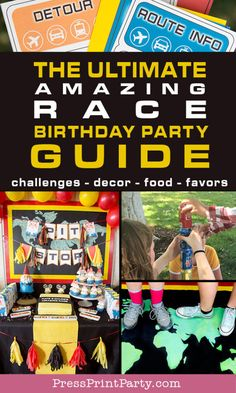 The Ultimate Guide to Your Amazing Race Birthday Party. Find everything you need to plan a successful Amazing Race party. Great teen or adult party theme. Creative birthday theme from the Amazing Race TV show on CBS. Get invitation, clue cards, challenge ideas, decoration ideas, food ideas, and favor ideas. Plan your own The Amazing Race birthday party with ease. How to host an Amazing race party at home. w printables from Press Print Party! Host A Party, Diy Party, Race Clues, Amazing Race Party, Adult Party Themes, Festive Crafts, Challenge Ideas, Party Treats, Best Part Of Me