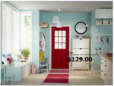 mudroom - bench w/ drawer, red door & blue walls, shoe organizer