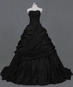Quality Sweetheart pleated side-draped chapel train taffeta ball gown black wedding dress gothic wedding dresses halloween wedding gowns with free worldwide shipping on AliExpress Mobile Gothic Gowns, Gothic Dress, Lolita Dress, Gothic Lolita, Gothic Clothing, Victorian Dresses, Girl Clothing, Black Wedding Gowns, Gown Wedding