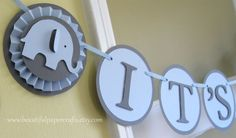 Blue and Gray It's a Boy Elephant Banner - Elephant Baby Shower Decorations - Custom Name Banner  - Custom Colors. $28.00, via Etsy.