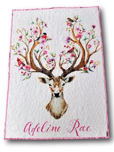 Never seen anything like this before-- gorgeous minky fawn quilt and it's personalized!