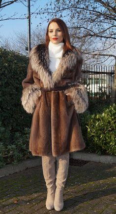 Braschi Mink with Silver Fox Fur Coat НОРКА Pastel Brown Colour Size s M | eBay
