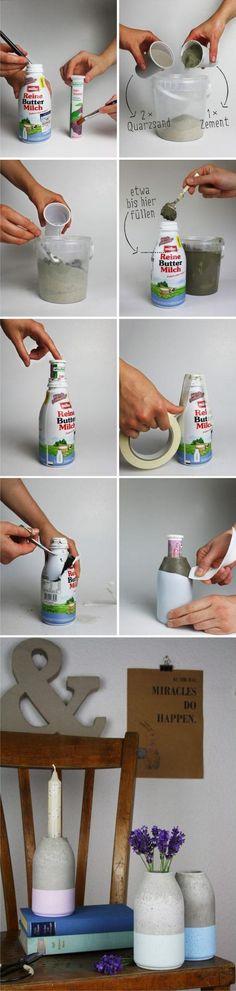 DIY florero hormigón -