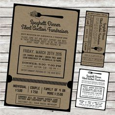 Cute fundraiser invites and auction forms. Fundraiser Ticket Design Spaghetti Dinner / Silent by BAJDESIGNS Fundraising Ideas, Fundraising Events, Invitation Design, Invitations, Church Fundraisers, Broken Link, Spaghetti Dinner, Ticket Design, Relay For Life