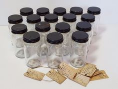 17 Vintage Antique Glass Metal Lid 2oz Oil Gas Testing Sample Jar Bottles Old 3""