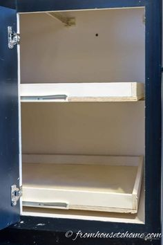 Corner Cabinet Organization - How To Build Pull Out Shelves For a Blind Corner Cabinet, Part 1 Farmhouse Sink Kitchen, New Kitchen Cabinets, Diy Cabinets, Kitchen Decor, Cupboards, Diy Kitchen, Maple Cabinets, Country Kitchen, Corner Cabinet Solutions