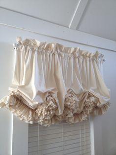 Double Ruffle Unbleached Muslin Balloon Curtain Valance