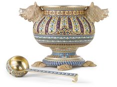 A Massive Russian Gilded Silver and Enamel Punch Bowl and Ladle, Antip Kuzmichev, Moscow; retailed by Tiffany & Co., circa 1895